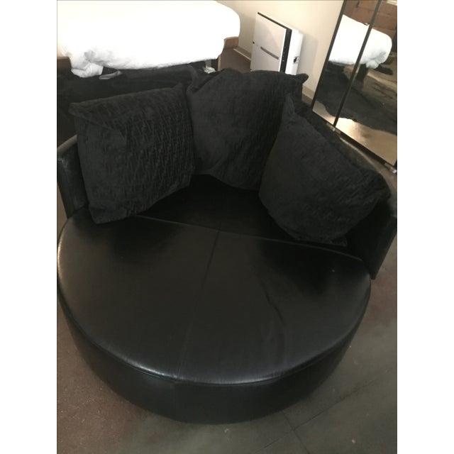 fendi casa black stingray leather circular sofa | chairish - Fendi Sofa