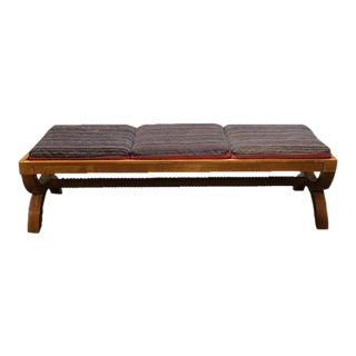 A Mid-Century Maple Bench With Reversible Cushions