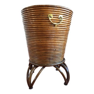 Vintage Rattan Planter on Stand With Brass Handles