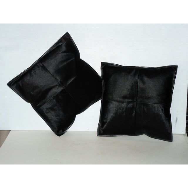 Black Calf Hide & Leather Pillows - a Pair - Image 2 of 6