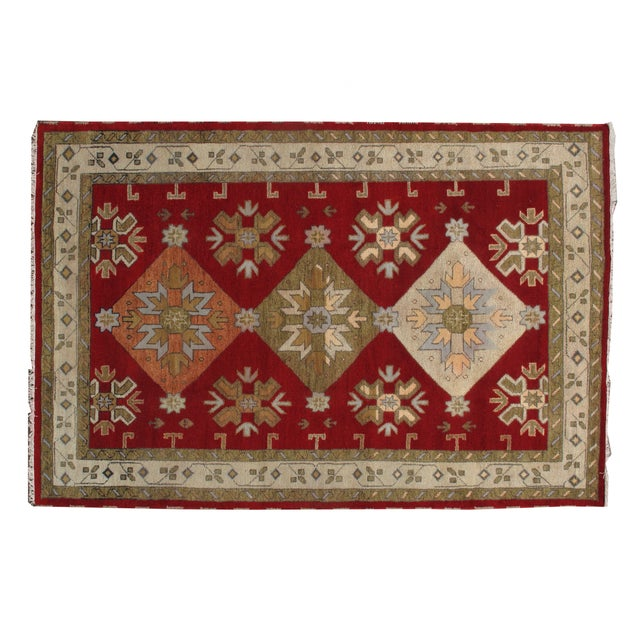 "Apadana - New Red Caucasian Rug - 6'7"" x 9'9"" - Image 1 of 3"