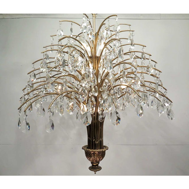 Vintage Mid Century Palm Spray Crystal Chandelier - Image 2 of 8