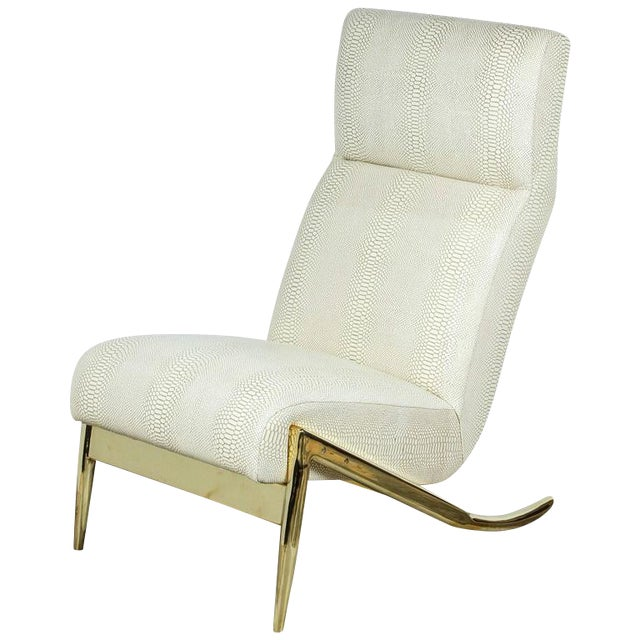 Paul Marra Slipper Chair in Brass with Faux Python - Image 1 of 10