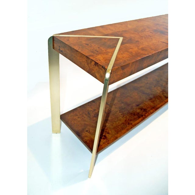 Burl Wood & Brass Console - Image 4 of 4