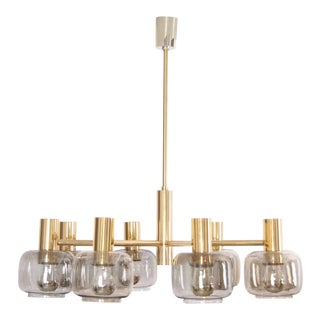 Scandinavian 1960s Luxury Brass Chandelier with Eight Arms