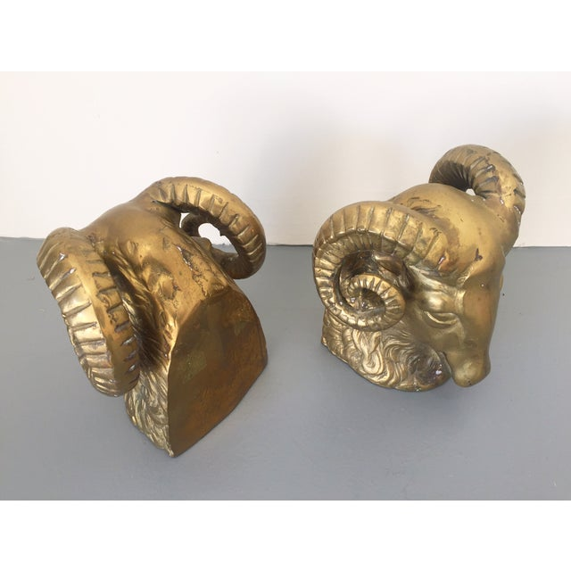 Large Brass Ram Bookends - Pair - Image 3 of 5