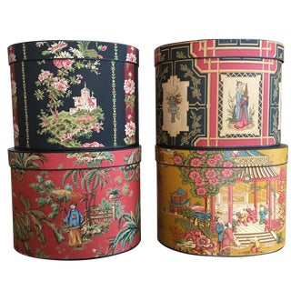 Oriental-Style Hat Boxes - Set of 4