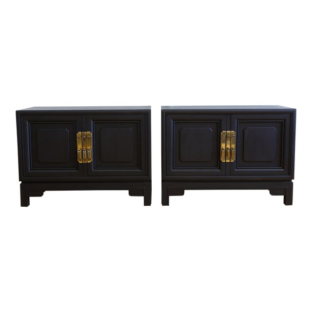 Mid Century Modern Black Nightstands - A Pair - Image 1 of 8