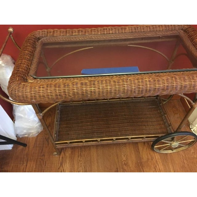 Vintage Wicker Wrapped Bar Cart - Image 6 of 7