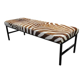 Authentic Brown Zebra Hide Pelt Bench