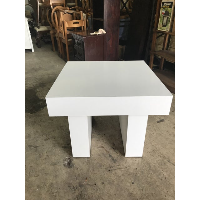 Mod White Laminate Parsons Side Table - Image 2 of 4