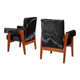 Pierre Jeanneret pair of Chandigarh High Court armchairs, 1950s