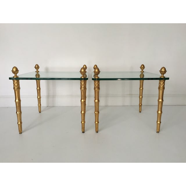 Faux Bamboo Pineapple Gilt Side Tables - A Pair - Image 2 of 5