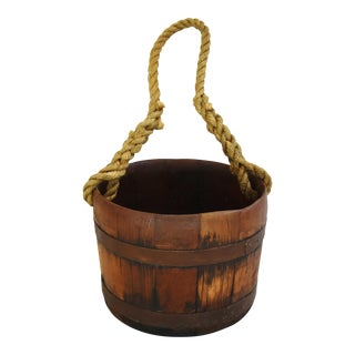Rustic Primitive Wood Barrel Bucket w/ Rope Handle