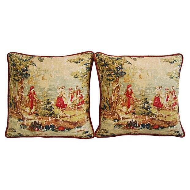 Romantic Custom Renaissance Toile Pillows - Pair - Image 6 of 6