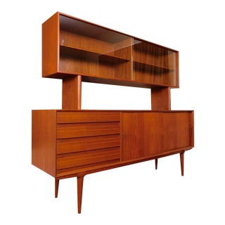Danish Modern Model 18 Gunni Omann Teak Buffet With Floating China Cabinet