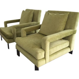 Custom Upholstered Lounge Chairs - Pair