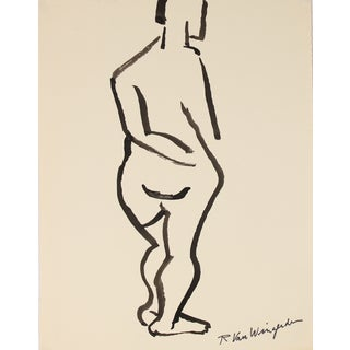 Mid Century Ink Line Drawing by R. Van Wingerden