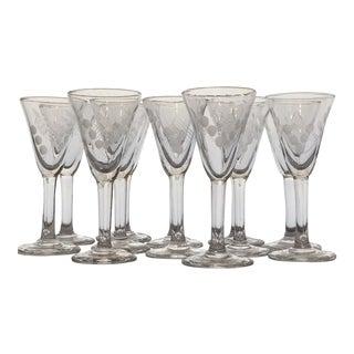 Vintage Etched Shot Glasses - Set of 12