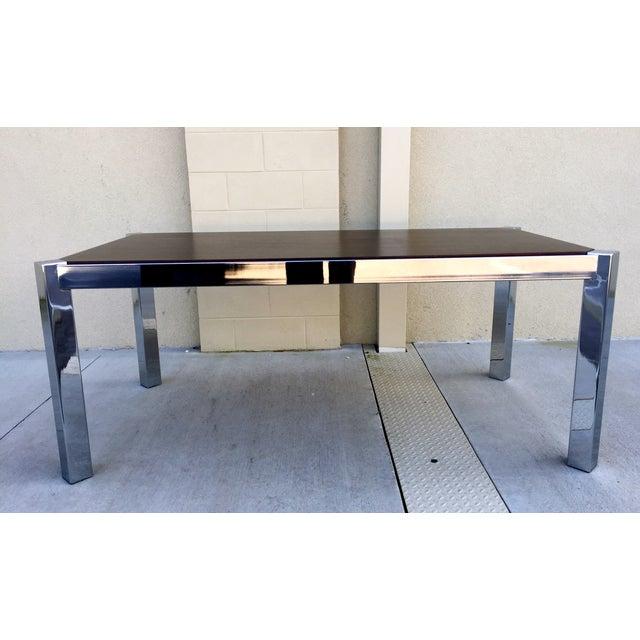 Milo Baughman DIA Wood & Chrome Dining Table - Image 4 of 8