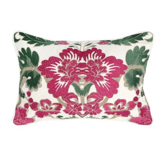 Fuchsia Flower Embroidered Pillow