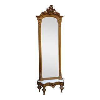 Victorian French Pier Mirror Gilt with Marble Top Stand, 1880s