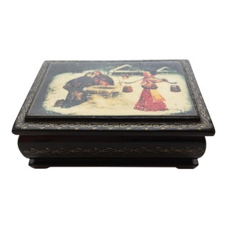 Vintage Russian Hand Painted Winter Scene Lacquer Box