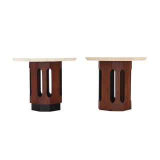 Pair of Octagon Shape Travertine Top End or Side Table on Walnut Bases