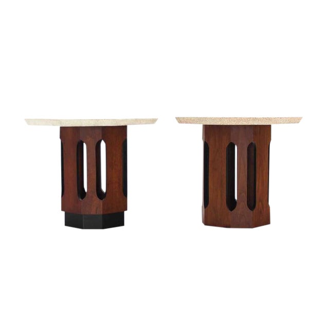 Pair of Octagon Shape Travertine Top End or Side Table on Walnut Bases - Image 1 of 7