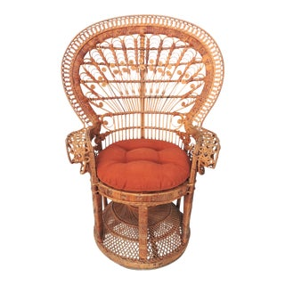 Wicker Peacock/Fan Back Arm Chair