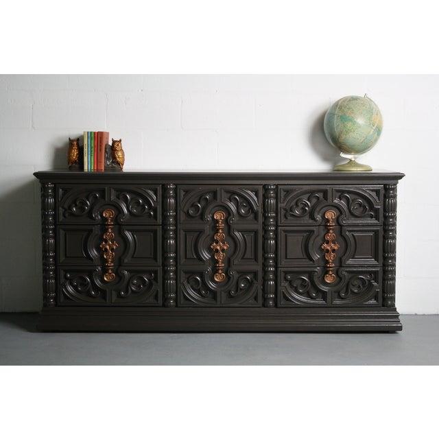 Hollywood Regency Gray & Bronze Dresser - Image 3 of 9