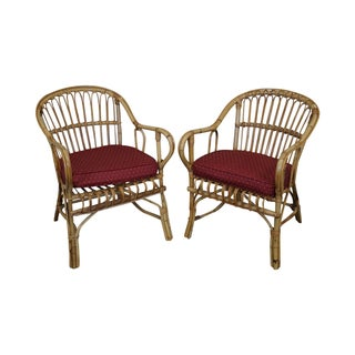 Bent Wood Rattan Bamboo Arm Chairs - A Pair