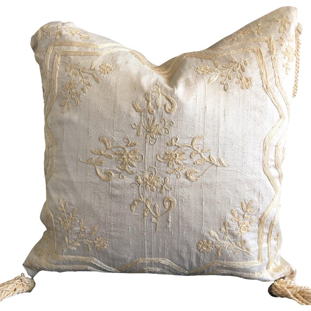 Luxury Raw Silk Embroidered Accent Pillow - Image 1 of 5