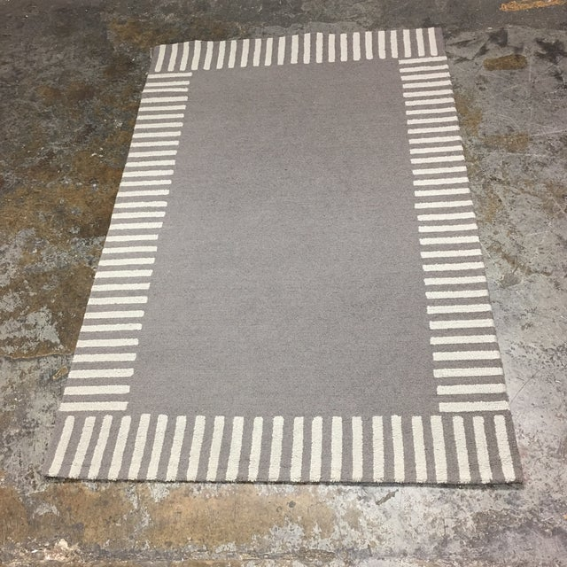 Image of Gray Striped Area Rug - 5' x 8'