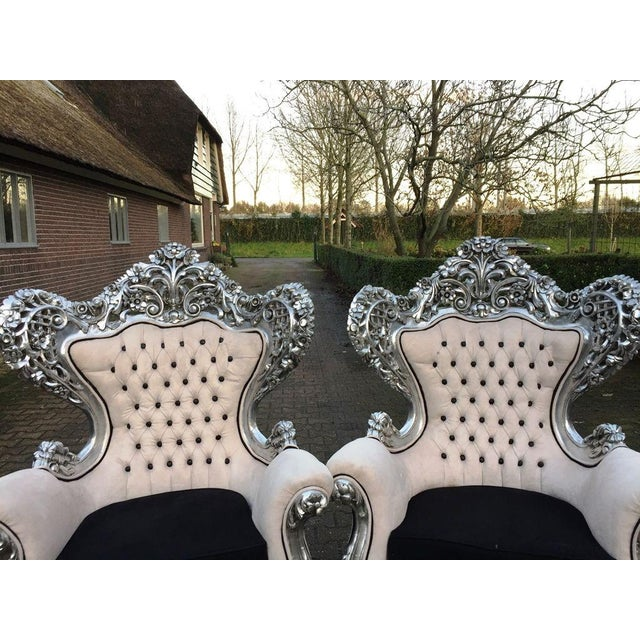 Image of Antique Silver & White Baroque Chairs - A Pair