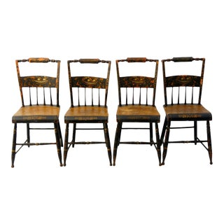 """Early 19th C. Stenciled Fancy Side Chairs - Hitchcock Style - signed """"Shear"""" -set of 4"""