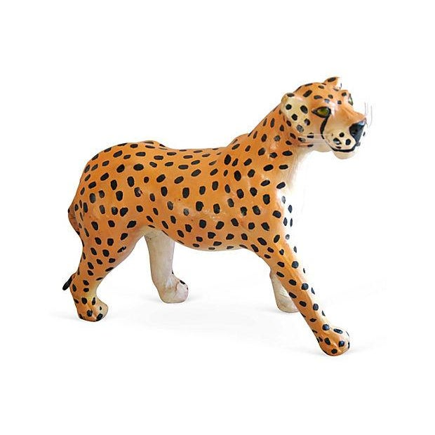 1970s Hand-Painted Leather Cheetah Figurine - Image 1 of 4