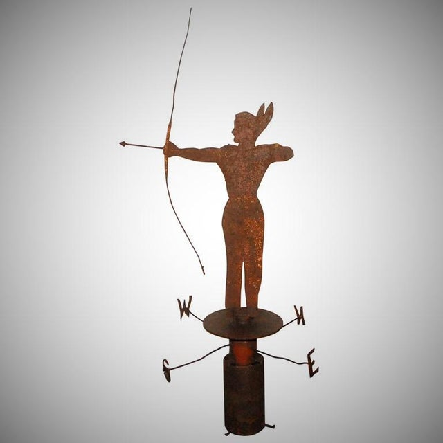 Rare 19th Century Original Painted Iron Indian Weathervane with Stand - Image 2 of 9