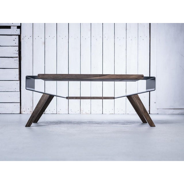 Solid Wood And Metal Coffee Table: Solid Wood & Perforated Steel Coffee Table