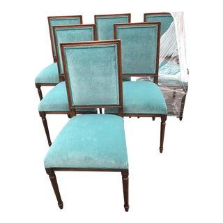 Custom Teal Velvet Dining Chairs - Set of 6