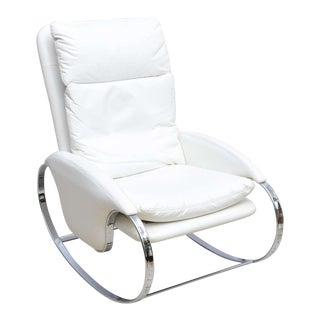 Milo Baughman Style Chrome Rocking Chair, USA, 1970s