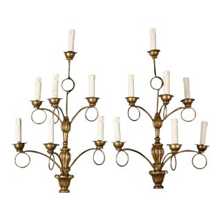 French Giltwood 7-Light Wall Sconces - A Pair