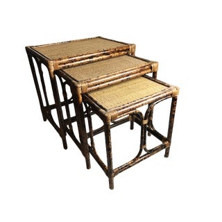 Mid-Century Bamboo & Rattan Nesting Tables - Set of 3