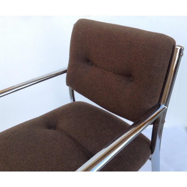 Vintage Chrome Arm Chairs w/Knoll Textile - A Pair - Image 8 of 11
