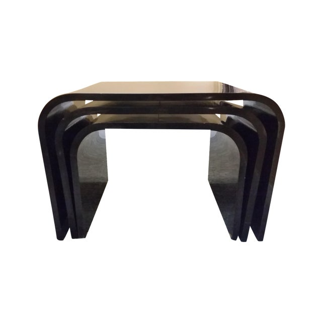 Modern Black Laminate Nesting Tables Set Of 3 Chairish