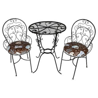 1950s Wrought Iron Bistro Set - Set of 3