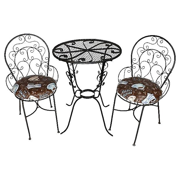 1950s Wrought Iron Bistro Set - Set of 3 - Image 1 of 10