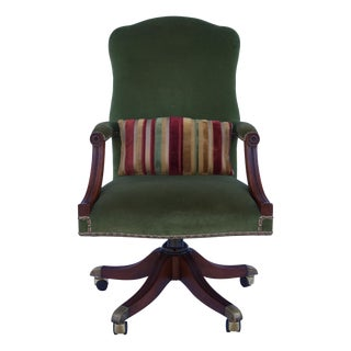 Arthur Brett Velvet Desk Chair on Brass Castors