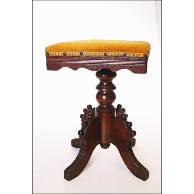 Wooden Adjustable Piano Stool ~ Antique victorian carved wood adjustable piano stool