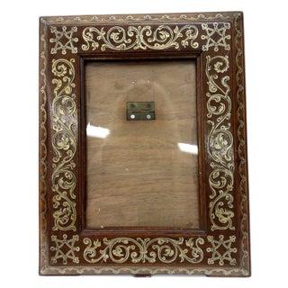 Antique Etched Walnut & Gold Leaf Frame